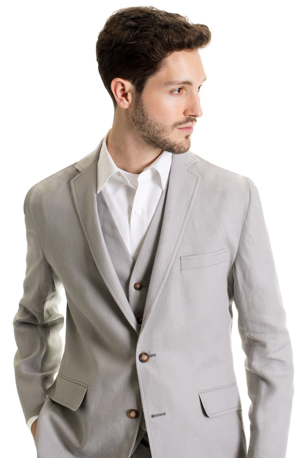 Light Grey Destination Linen Suit Coat - With No Necktie
