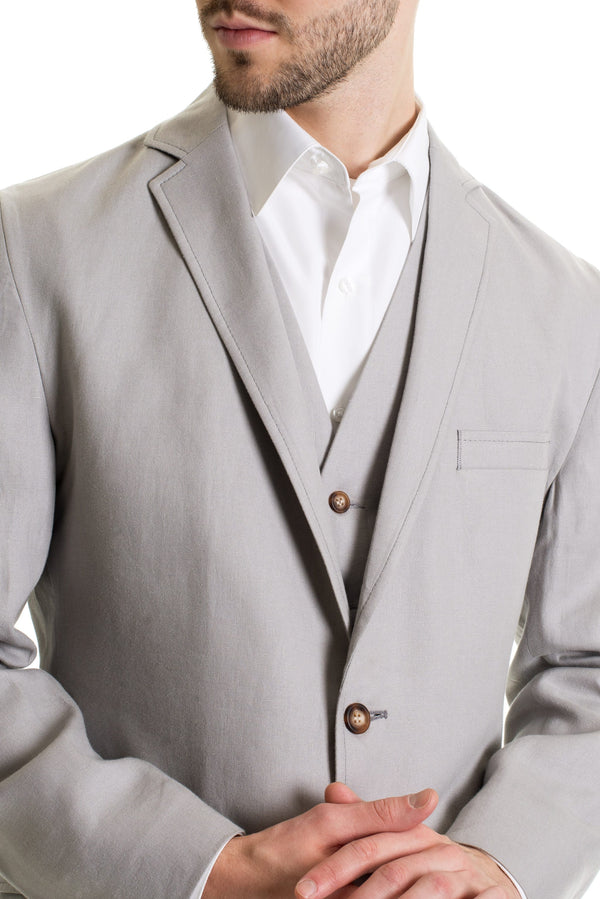 Light Grey Destination Linen Suit Coat - Detailed Close-Up