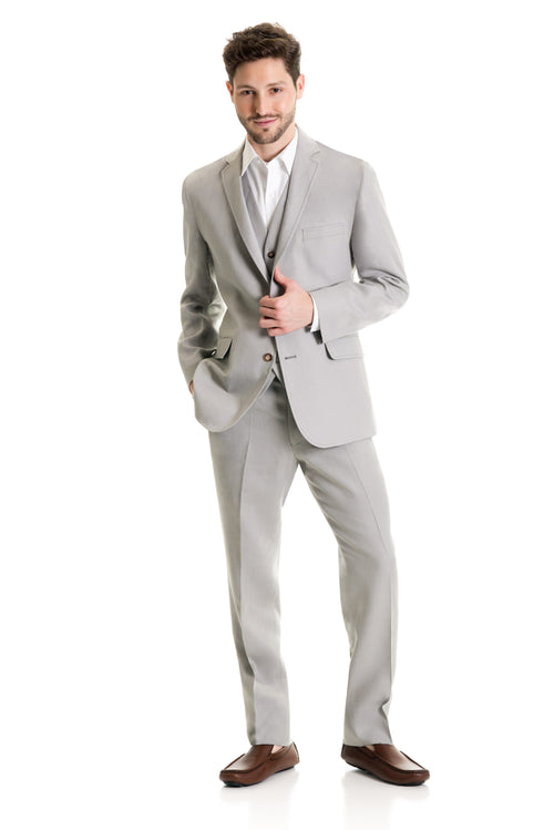 Light Grey Destination Linen Suit Coat - Full Suit Front
