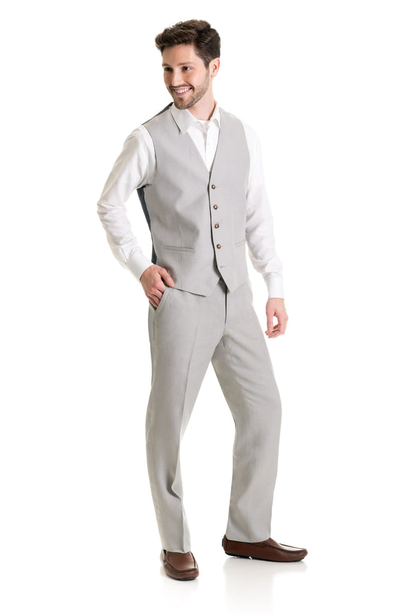 Light Grey Destination Linen Suit Vest