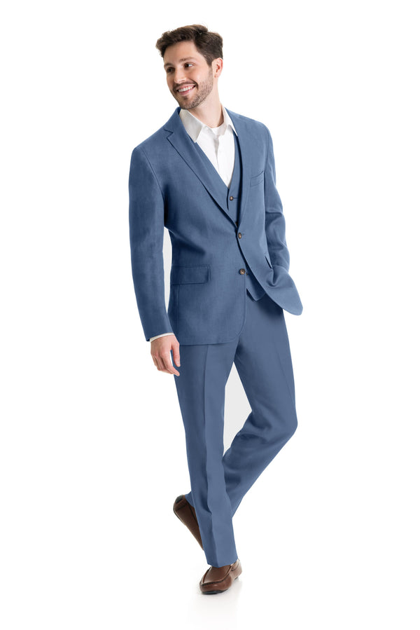 Light Indigo Destination Linen Suit Coat - Full Suit Three Quarter