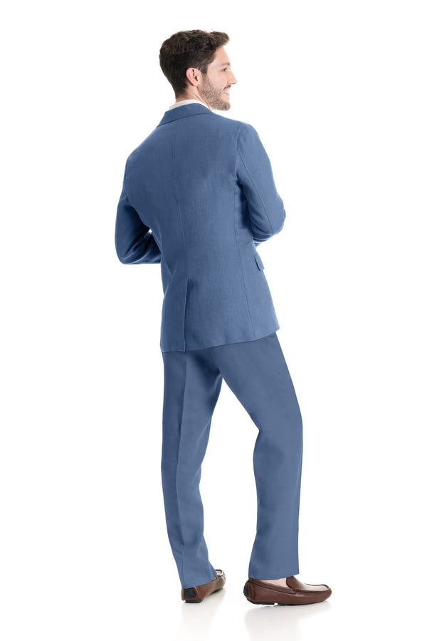 Light Indigo Destination Linen Suit Coat - Full Suit Back