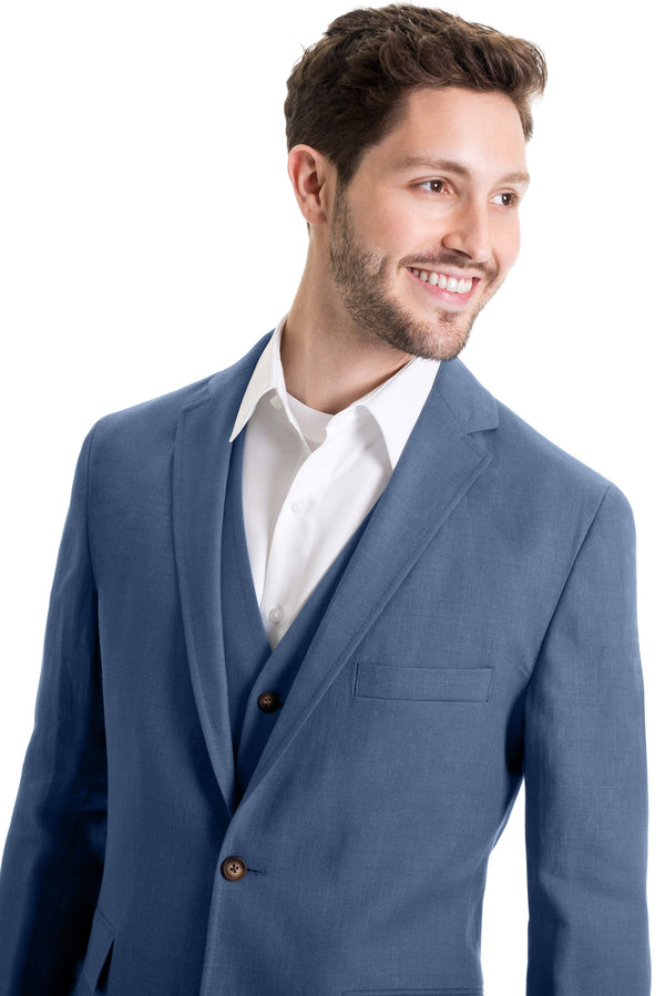 Light Indigo Destination Linen Suit Coat Without Necktie