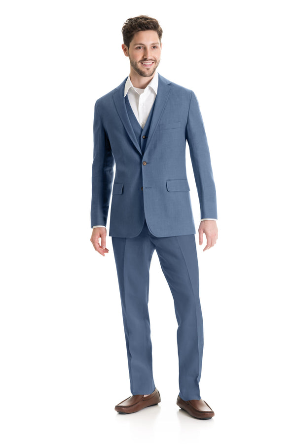Light Indigo Destination Linen Suit Coat - Full Suit Front