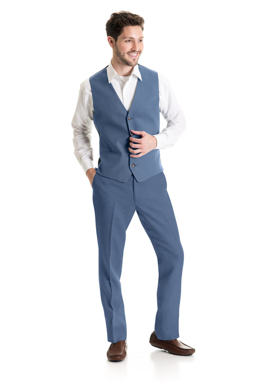 Light Indigo Destination Linen Suit Vest