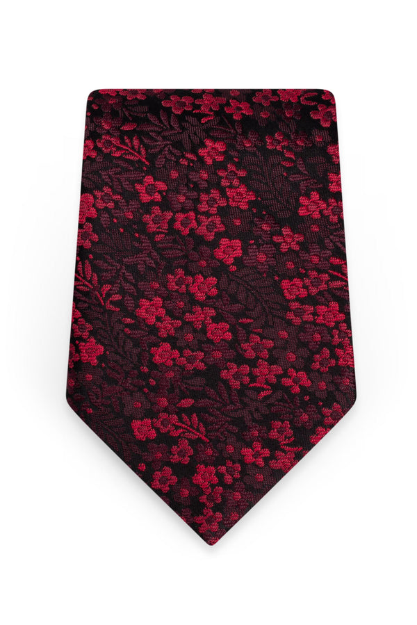 Floral Apple Red Self-Tie Windsor Tie