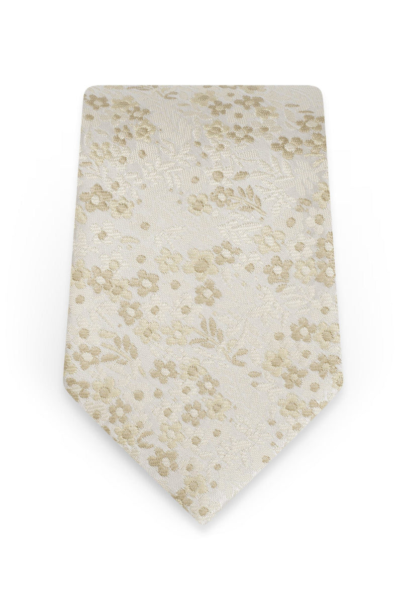 Floral Champagne Self-Tie Windsor Tie - Detail