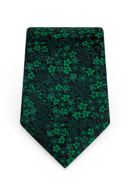 Floral Emerald Self-Tie Windsor Tie - Detail
