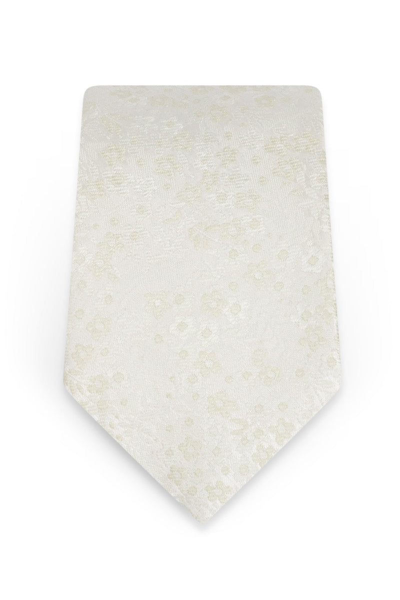 Floral Ivory Self-Tie Windsor Tie - Detail