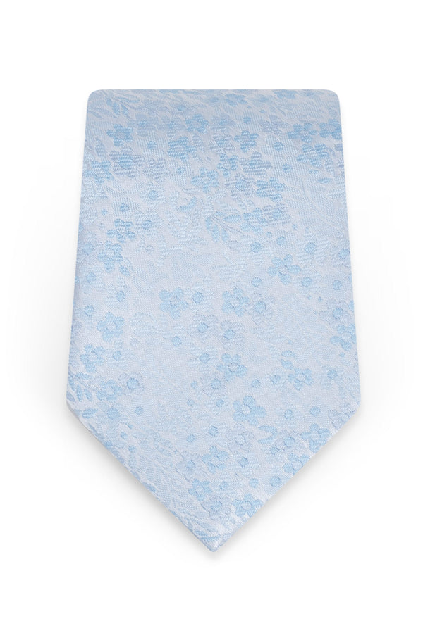 Floral Lite Blue Self-Tie Windsor Tie