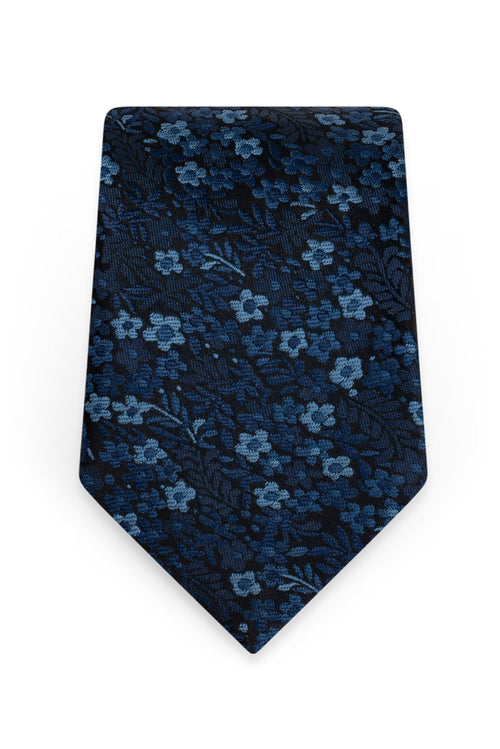 Floral Navy Self-Tie Windsor Tie - Detail