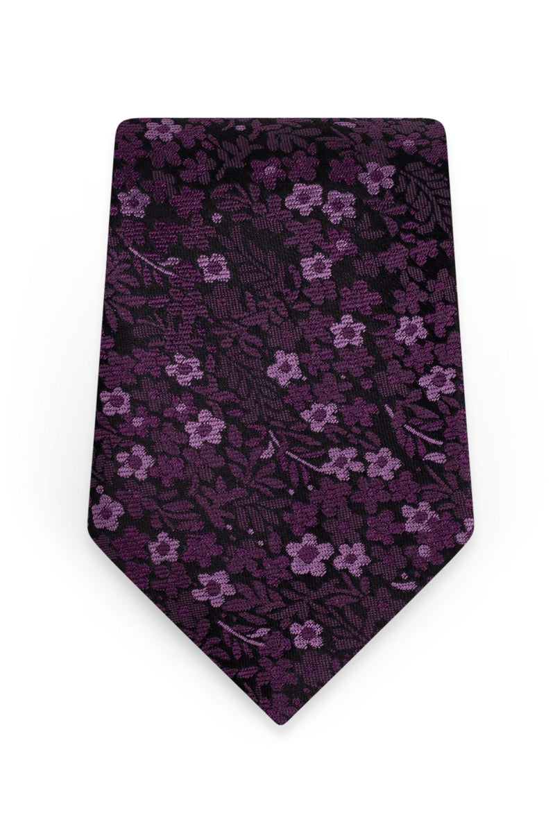 Floral Plum Self-Tie Windsor Tie - Detail
