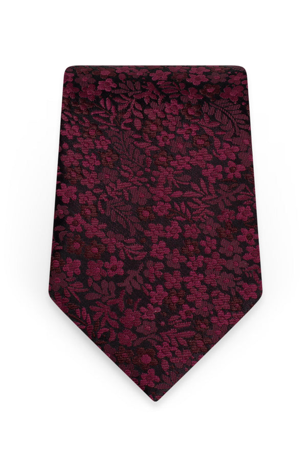 Floral Wine Self-Tie Windsor Tie