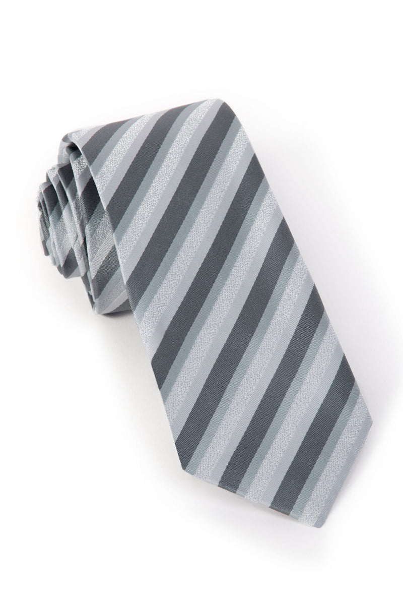 Striped Ties - White and Grey