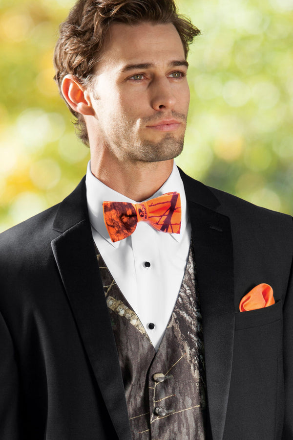 Mossy Oak Blaze Orange Camouflage Bow Tie