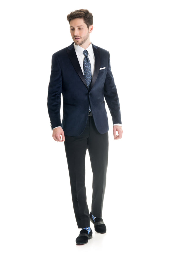 Navy Velvet Ultra Slim Fit Tuxedo Coat