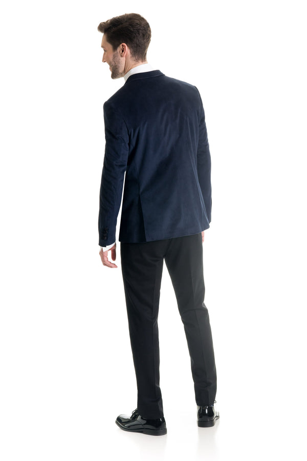 Navy Velvet Ultra Slim Fit Tuxedo Coat Back