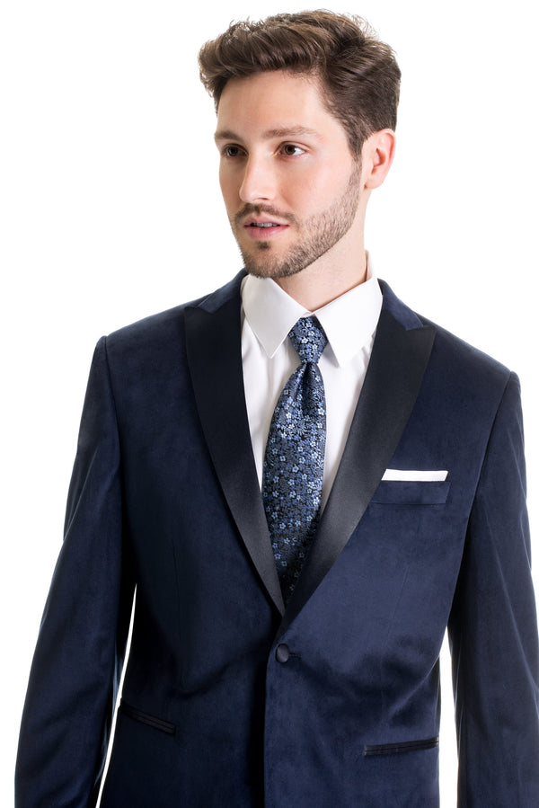 Navy Velvet Ultra Slim Fit Tuxedo Coat Close Up