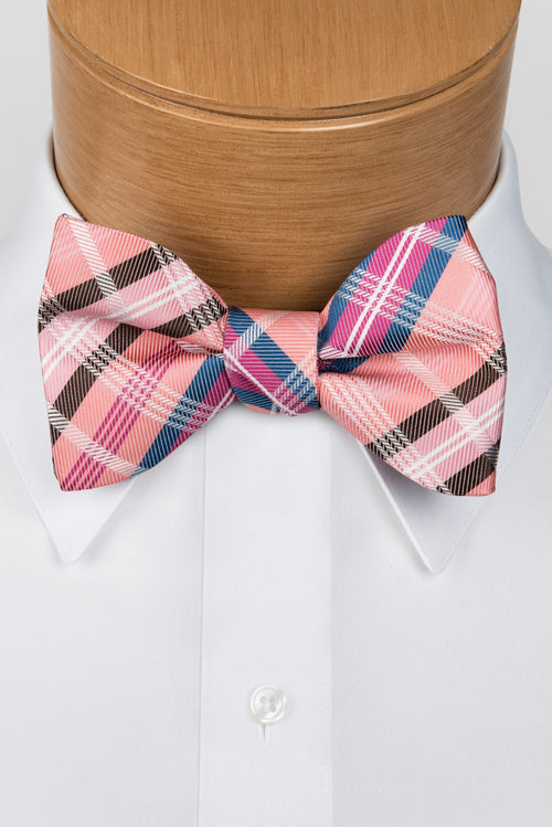 Plaid Multi-Color Coral Bow Tie