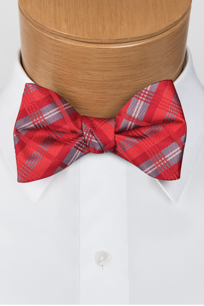 Plaid Multi-Color Red Bow Tie