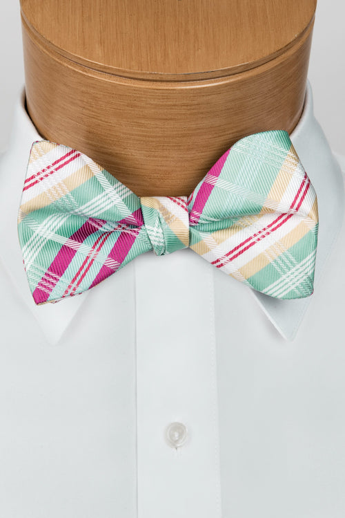 Plaid Multi-Color Mint & Fuchsia Bow Tie