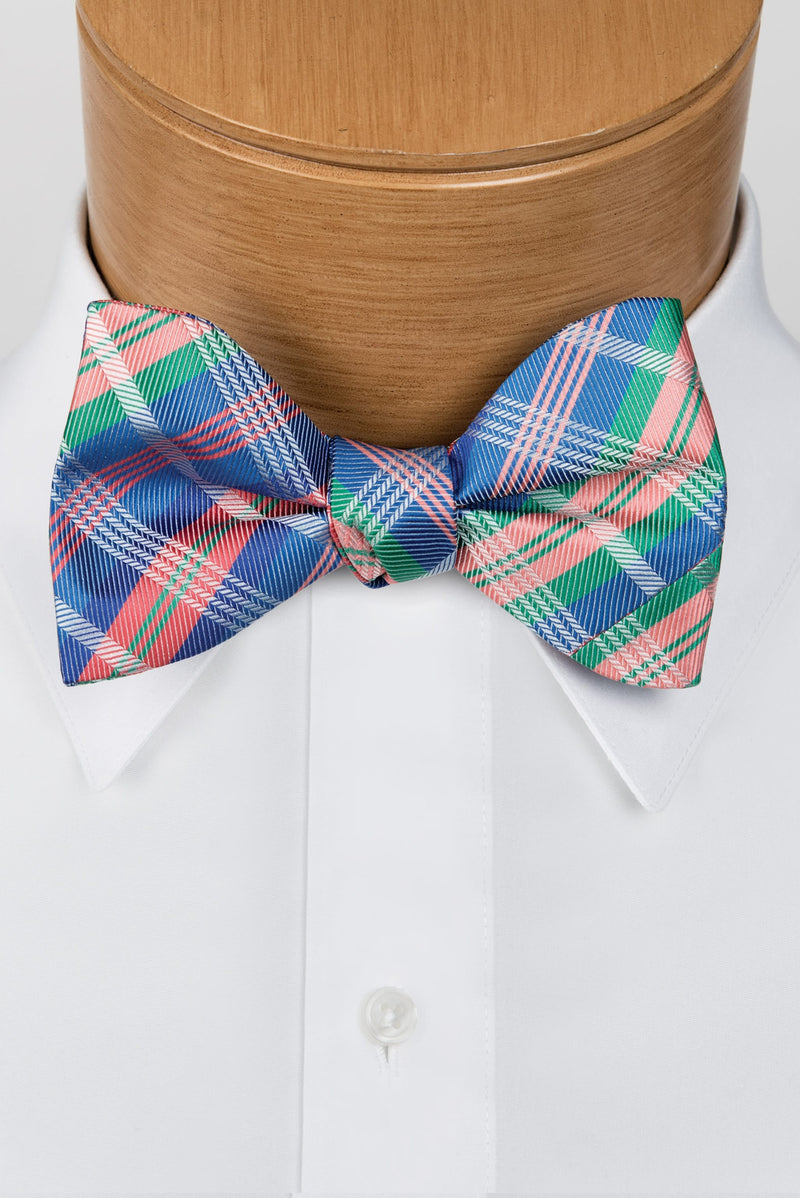 Plaid Multi-Color Royal & Coral Bow Tie