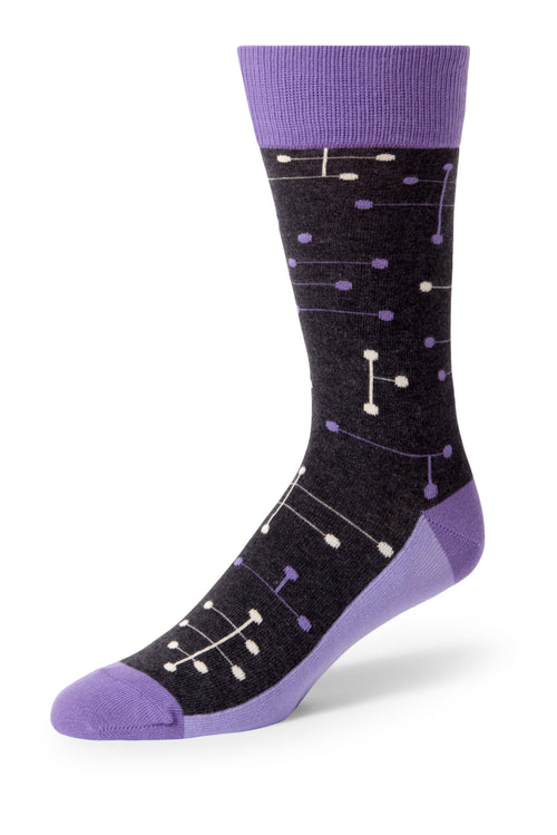Purple Line Dot Men's Dress Socks
