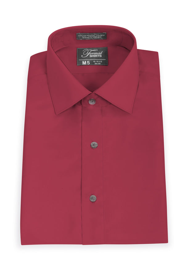 Red Slim Fit Microfiber Dress Shirt