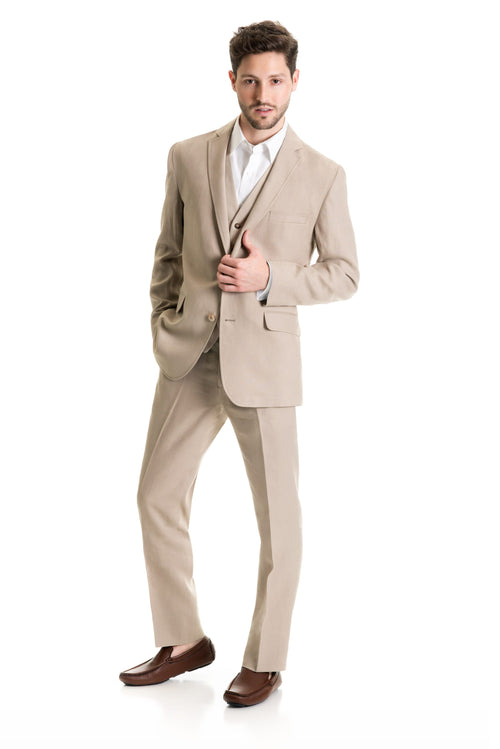 Tan Destination Linen Suit Coat - Full Suit Three Quarter