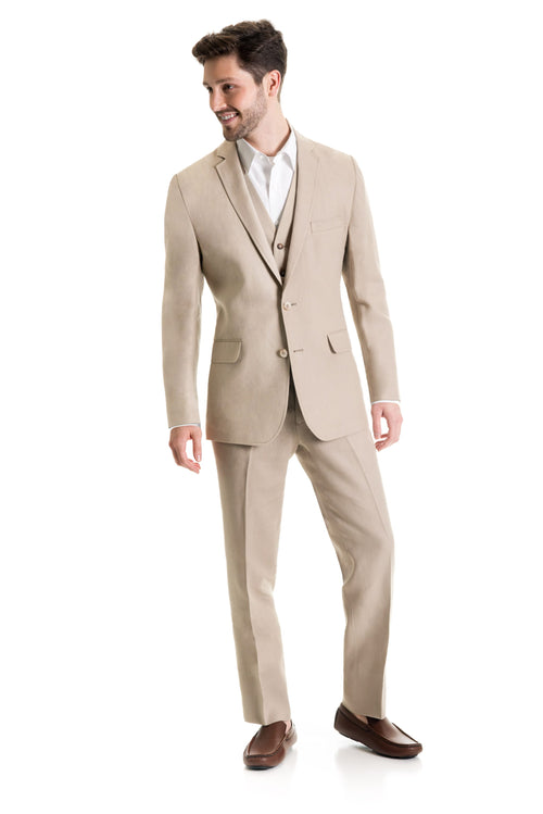 Tan Destination Linen Suit Coat - Full Suit Front