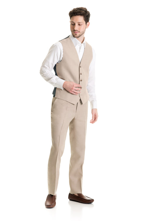 Tan Destination Linen Suit Vest