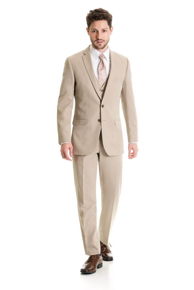 Tan Slim Fit Suit Coat - Full Suit Front