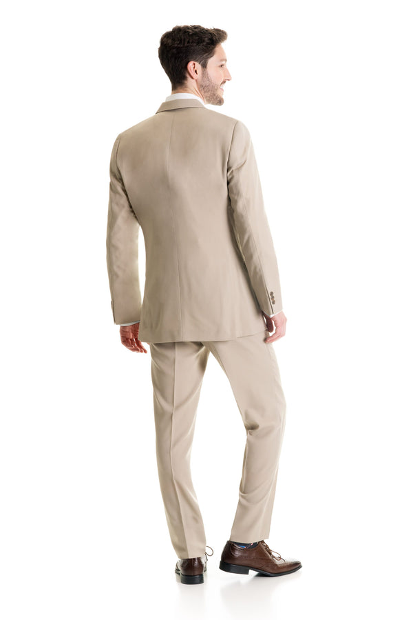 Tan Slim Fit Suit Coat - Full Suit Back