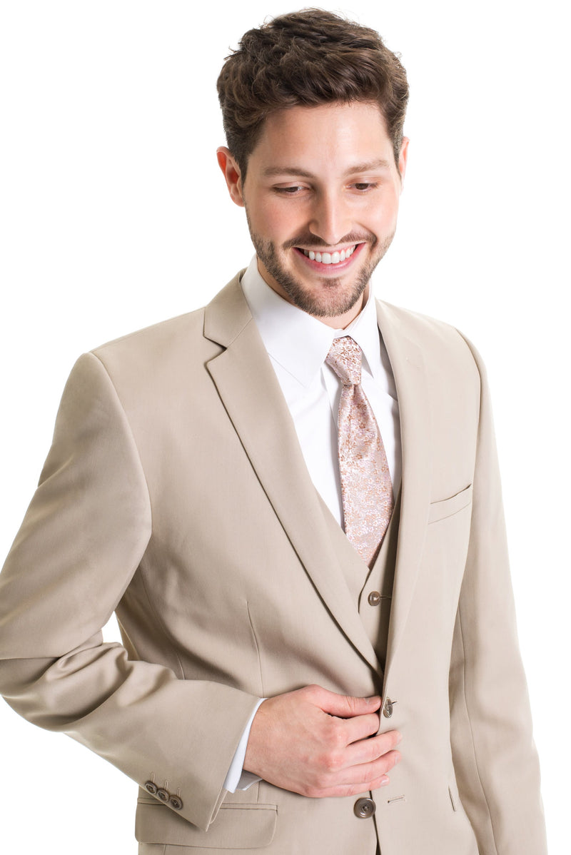 Tan Slim Fit Suit Coat - With Necktie