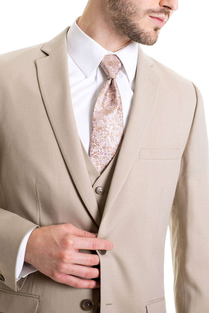 Tan Slim Fit Suit Coat - Detailed Close-Up