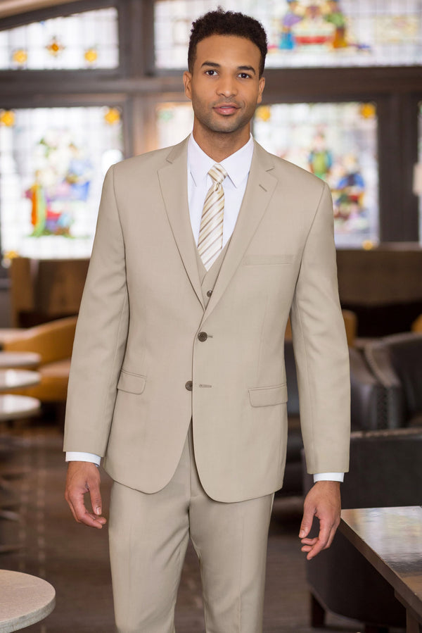 Tan Slim Fit Suit Coat - Full Suit Front 2