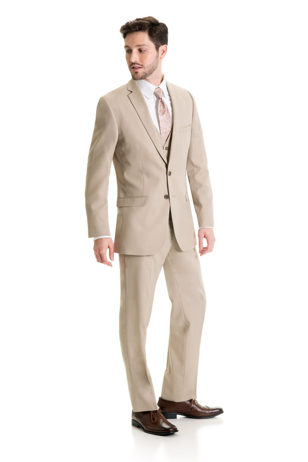 Tan Slim Fit Suit Coat - Full Suit Front Three Quarter