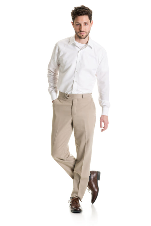Tan Slim Fit Suit Pants