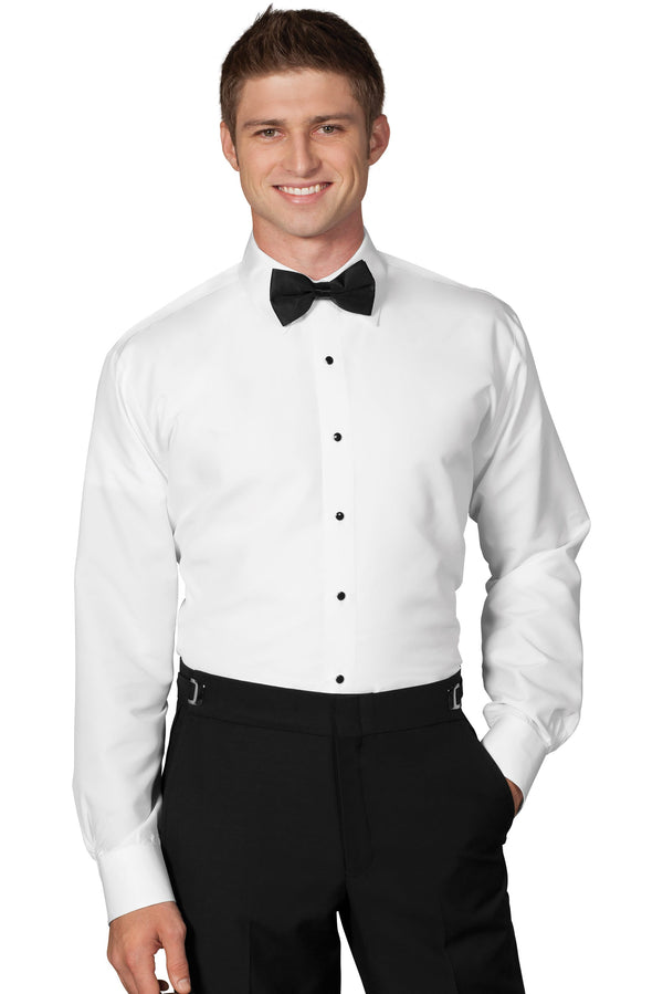 White Microfiber Tuxedo Dress Shirt