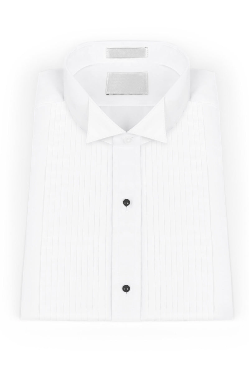 White Pleated Wing Collar Tuxedo Shirt