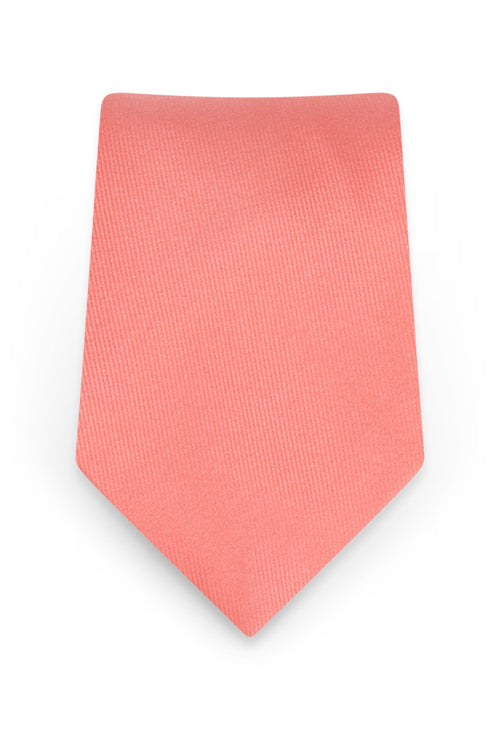 Solid Coral Self-Tie Windsor Tie - Detail