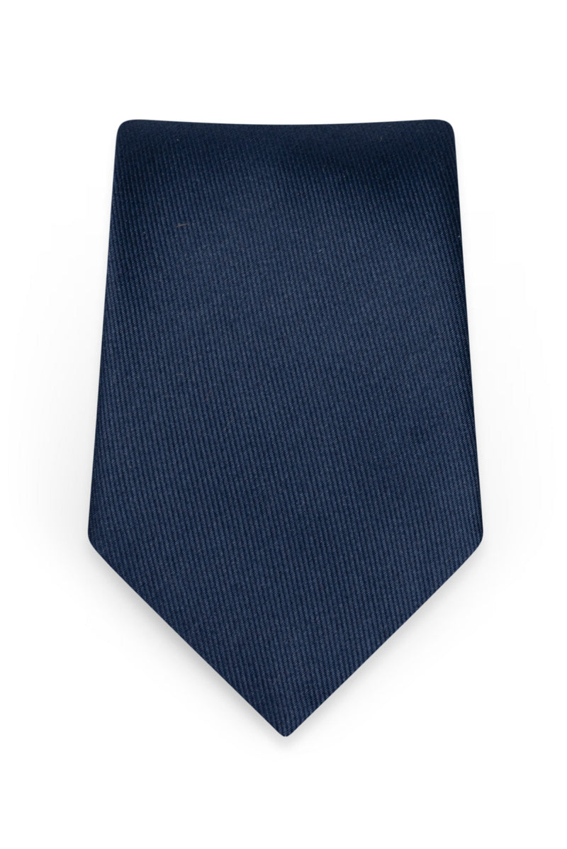 Solid Navy Self-Tie Windsor Tie - Detail