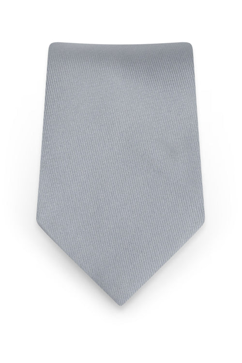 Solid Silver Self-Tie Windsor Tie - Detail