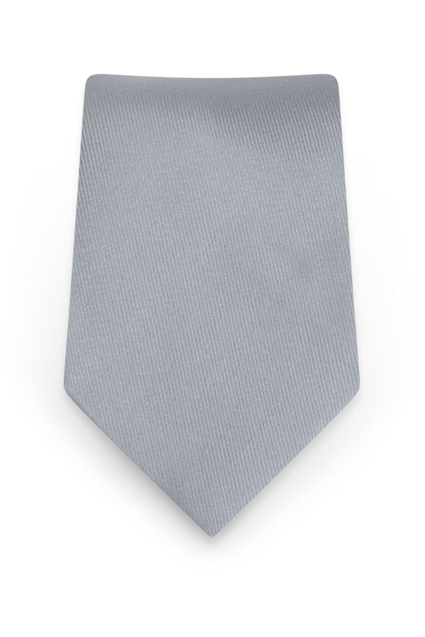 Solid Silver Self-Tie Windsor Tie