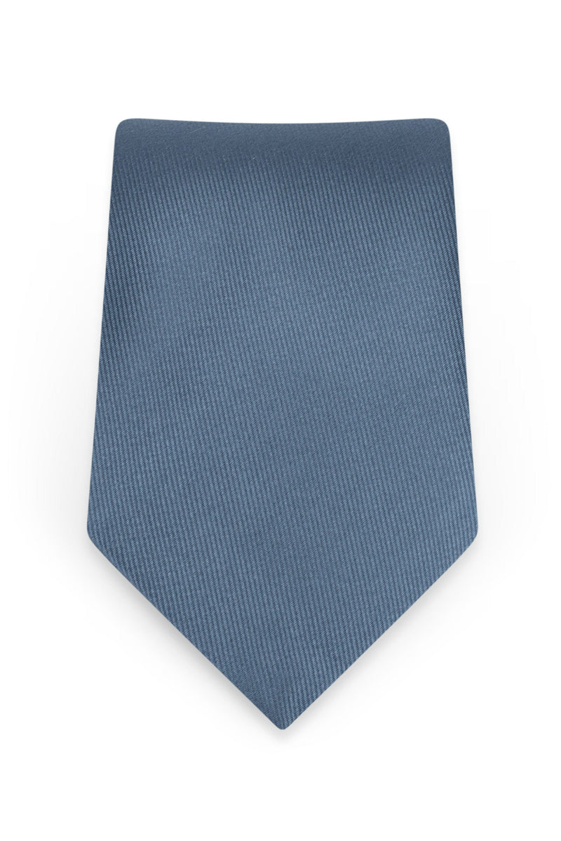 Solid Slate Blue Self-Tie Windsor Tie - Detail