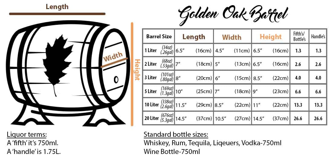 Oak Barrel Size Chart