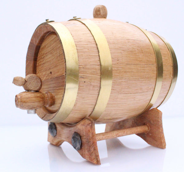 1 Liter Golden Oak Barrel for Aging – Brass Hoops - Golden Oak Barrel