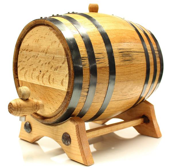 10 Liter Golden Oak Barrel for Aging – Black Steel Hoops - Golden Oak Barrel