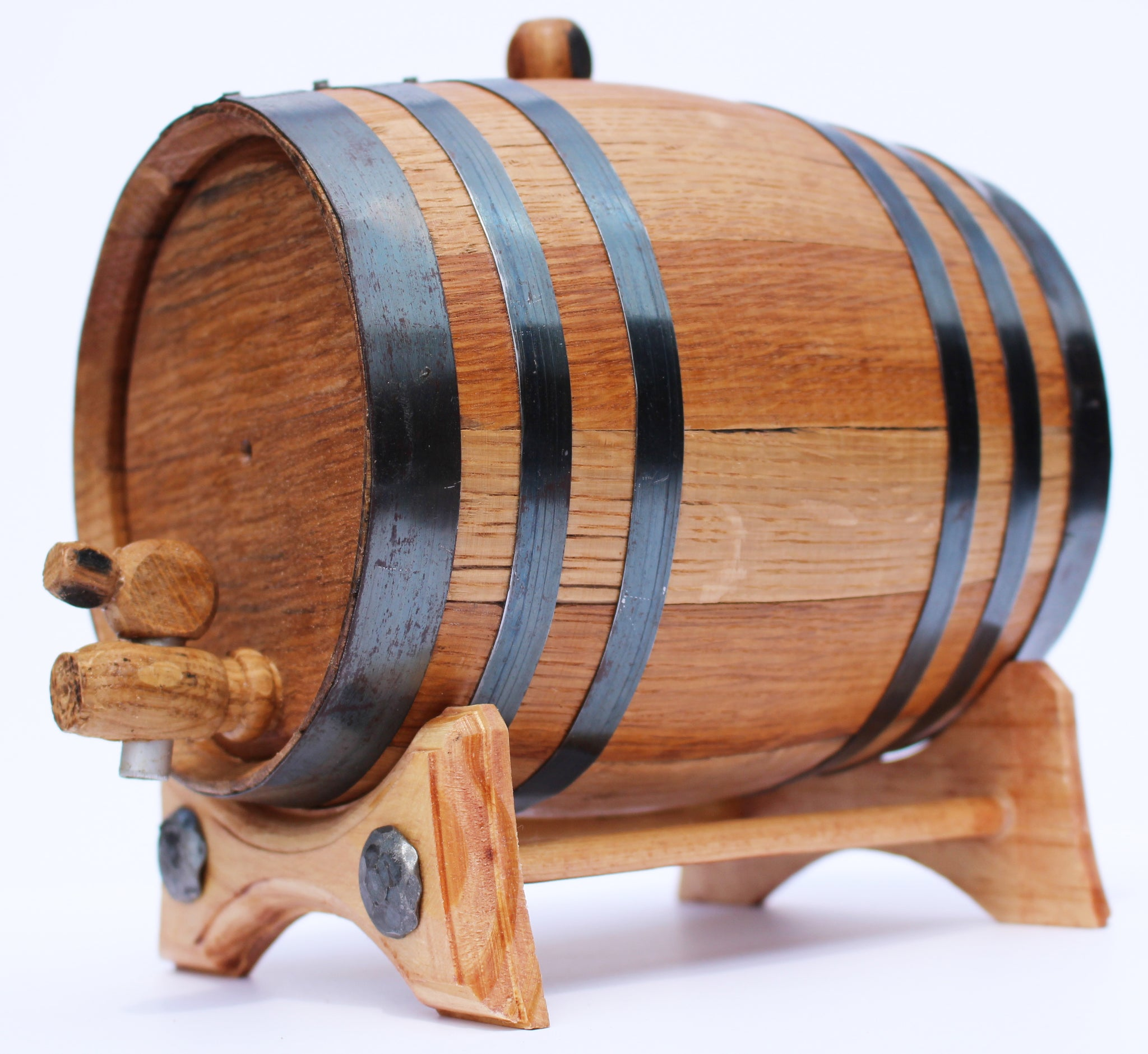 2 Liter Golden Oak Barrel for Aging - Black Steel Hoops - Golden Oak Barrel