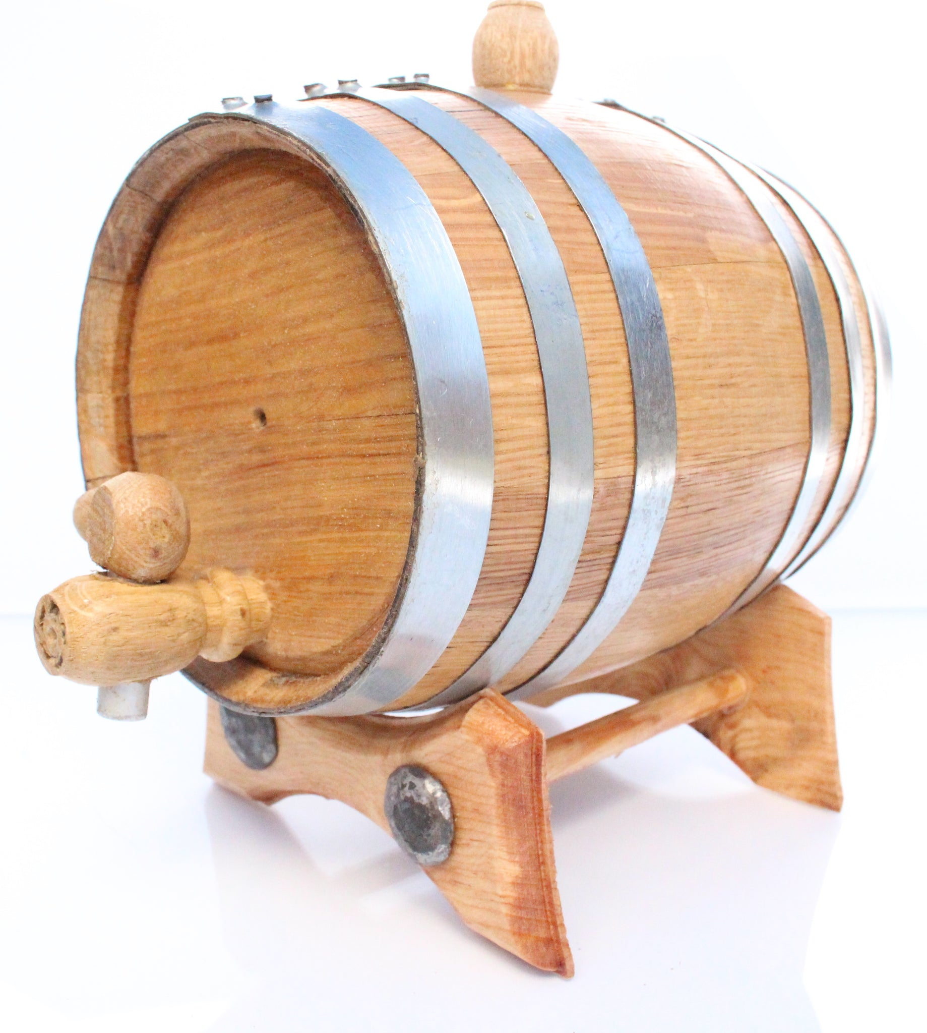 1 Liter Golden Oak Barrel for Aging – Polished Steel Hoops - Golden Oak Barrel